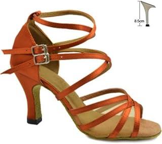 BEESCLOVER New Tan Satin Mesh Ballroom Latin Dance Shoes Salsa Dance Shoes Performance Dance Shoes Size 34,35,36,37,38,39,40,41