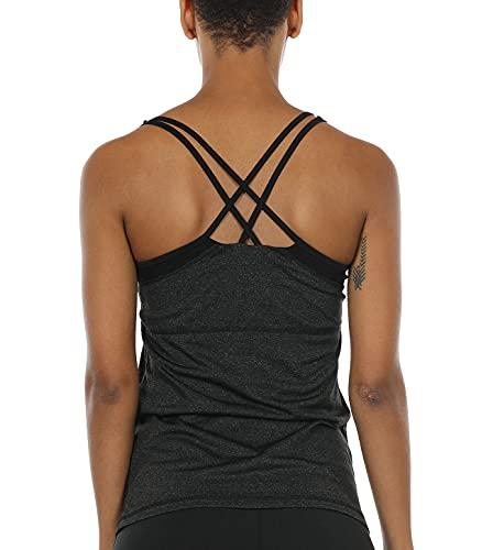 icyzone Women Workout Yoga Spaghetti Strap Racerback Tank Top