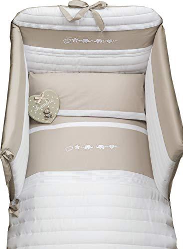 Dilibest by Picci Parure de lit 15 Miro Greige avec ciel de lit et tour de lit Beige/gris
