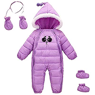 Baby Girls Winter 3 Piece All in One Hooded Snowsuit Thick Down Jumpsuit Puffer Romper Shoes and Golves 18-30 Months Purple