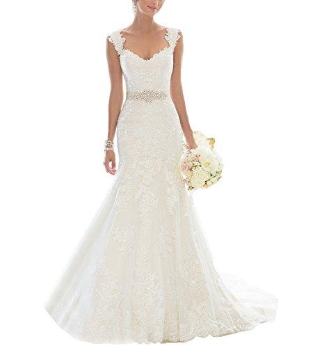 Changjie Damen Ohne Arm Meerjungfrau Langes Brautkleid SpitzeApplique Hochzeitskleider Mit G¨¹rtel