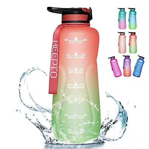 Botella de agua motivacional de 32 onzas, 64 onzas, 120 onzas con pajita, jarras de agua a prueba de fugas con marcador de tiempo, botella de agua sin BPA con mango de boca ancha (cepillo de paja)