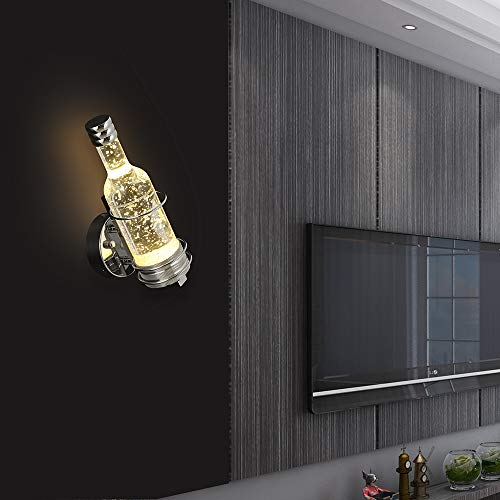 Modern Wall Lamp Indoor Wall Mount Light Fixture Wine Bottle Wall Sconce Lighting with Bubble Glass for Bedroom Hallway Room Decor Not Dimmable (Warm White)