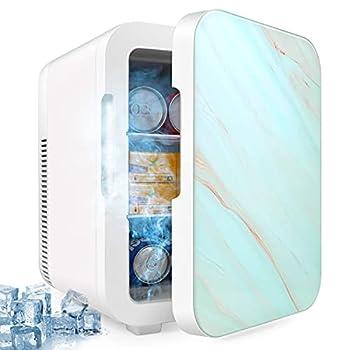 10L Mini Fridge Portable Freezer Large Capacity Compact Cooler and Warmer with Control Temperature Single Door Mini Fridge Freezer for Cars Road Trips Homes