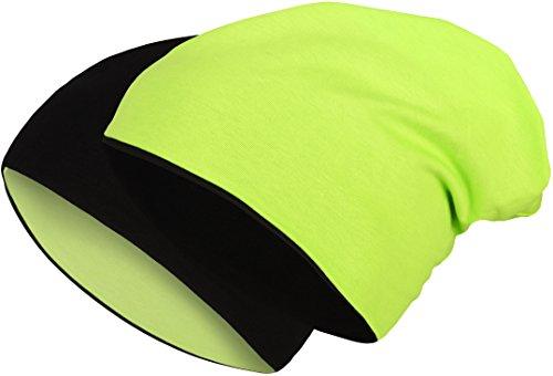 2 in 1 Wendemütze - Reversible Slouch Long Beanie Jersey Baumwolle elastisch Unisex Herren Damen Mütze Heather in 24 (8) (Black/Neon Green)
