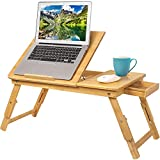 Laptop Desk Tray, Breakfast Serving Bed Tray, Computer, Notebook Holder & Stand, Adjustable & Foldable with Flip Top and Drawers, 100% Bamboo