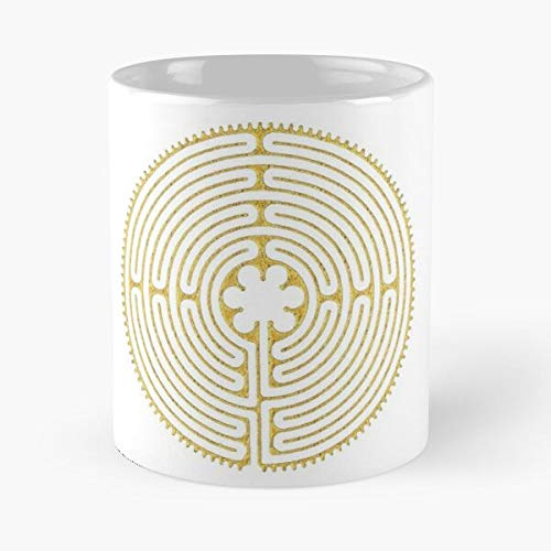 Sacred Flower Labyrinth Chartres Symbol Geometry Infinity Mandala Vintage Taza de café con Leche 11 oz