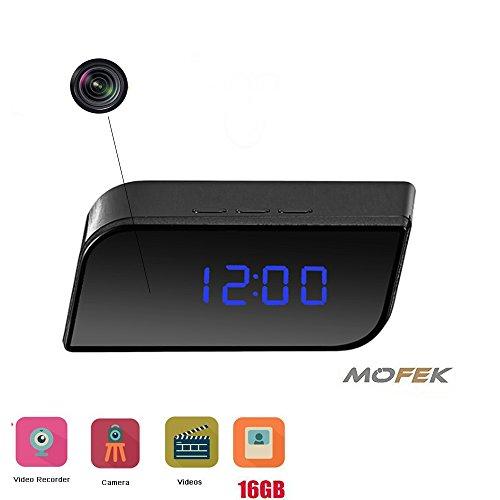 Full HD Spy-Cam-Wecker von Mofek als Anti-Diebstahl-Gerät mit 1080P für die Sicherheit Ihrer Familie, im Büro oder Zimmer mit Infrarot-Nachtsicht, Video Recorder und 16GB Speicherkarte