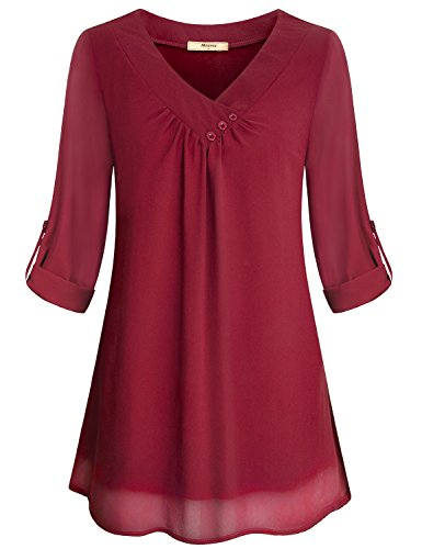 Miusey Loose Chiffon Shirt for Women, Juniors Soft Button Collar Vneck Roll up Sleeve Shirt Light Weight Airy Flowy Summer Wear Cool Plain Basic Cute Tunic Top Red XL (Nice Tops To Wear With Skinny Jeans)