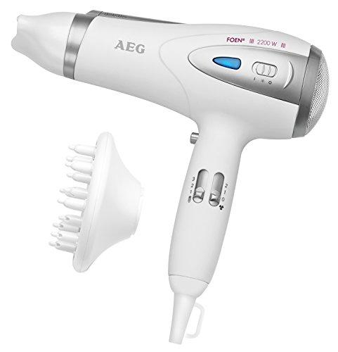 AEG HTD 5584 - Secador de pelo profesional iónico con difusor, 3 niveles de temperatura, 2 velocidades, 2200 W, color blanco y plata