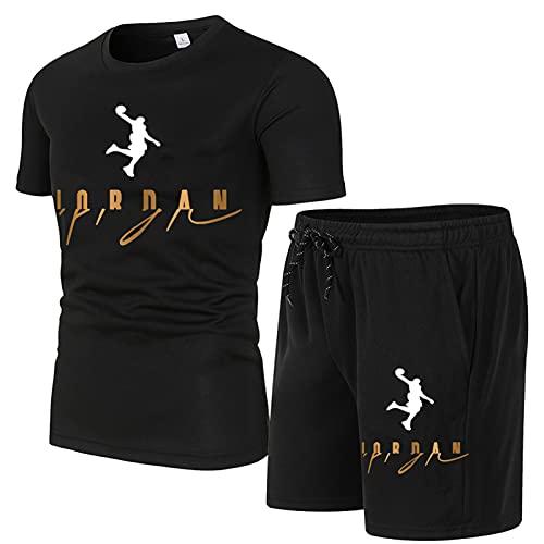 NBCV Chándal para De Hombre,Camiseta De Moda Jordan, Traje De Jogging JD para Hombre Y Pantalones Cortos Deportivos, Conjunto De Chándal Informal con Estampado 3D De Marc black2-XL