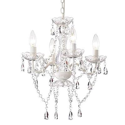 Mini Crystal Chandeliers Acrylic White Chandelier Lighting 4 Light Modern Hanging Light Fixtures