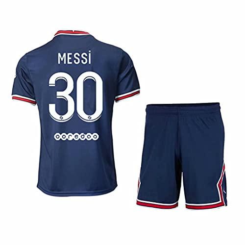 LJB - Camiseta deportiva de fútbol para hombre juvenil y niños, 2021-2022 #30 PSG 21/22 Ropa de entrenamiento de fútbol, azul, 4XS