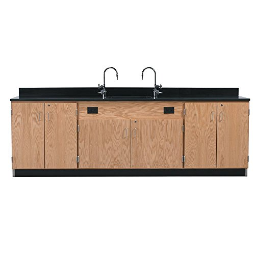 """Big Sale Diversified Woodcrafts 3246K Solid Oak Wood Wall Service Bench with Drawer Cabinet, Epoxy Resin Top, 108"""" Width x 36"""" Height x 24"""" Depth"""
