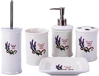 GMMH Set de 5 brosses de WC en céramique pour Salle de Bain Lavande