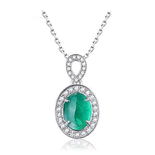 Bishilin Collana 18 Carato Oro Bianco Ovale con Smeraldo 1.07Ct Pendente Catena Matrimonio per Donne Oro Bianco