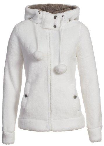 Urban Surface Damen Teddy Fleecejacke mit Öhrchen und Kapuze | Kuscheliger Zip Kapuzenpullover, Größe:XL, Farbe:White