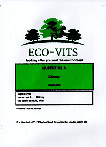 ECO-VITS HUPERZINE A (200MCG) 30 CAPS. Biodegradable Packaging. Sealed Pouch