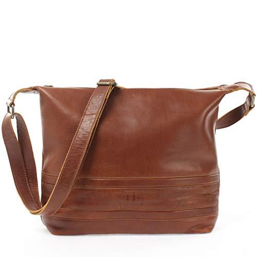 LECONI Schultertasche Damentasche Umhängetasche natur weiche Ledertasche Handtasche Damen Leder 33x28x10cm braun LE0064-buf