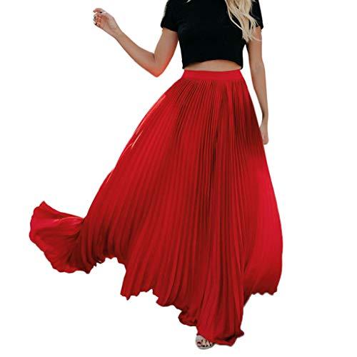 FAMILIZO Faldas Largas Y Elegantes Faldas Cortas Mujer Verano Faldas Mujer Invierno Primavera Vestidos Mujer Moda Alta Cintura Fold Soild Vintage Suelta Playa Abrigo Maxi Largo Falda