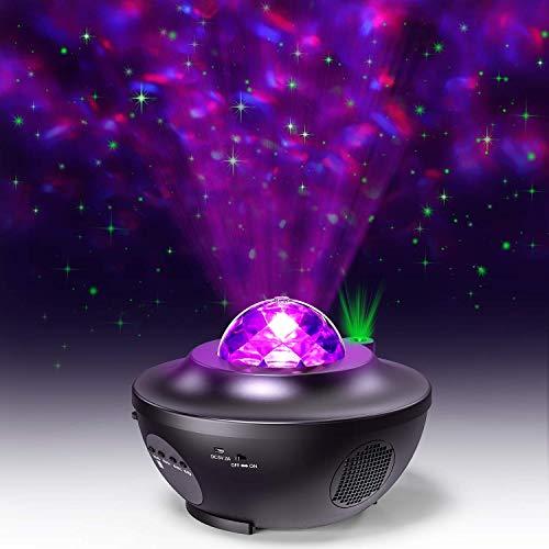 Lampada Proiettore Stelle,LED Luci Proiettore Romantica Cielo Stellato e Oceano Lampada con Altoparlante Bluetooth Musicale, Timer, Telecomando per Feste, Natale, Pasqua, Halloween (Nero)