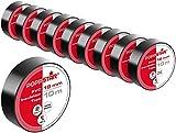 Poppstar - 10x 10m Nastro isolante universale (nastro sigillante in PVC - nastro adesivo), per isolamento - riparazione di conduttori elettrici (18 mm di larghezza), neri