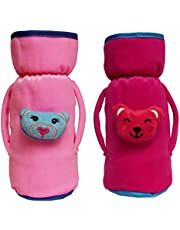cutieco baby feeding bottle cover with attractive cartoon, pink and red (pack of 2)