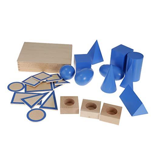 Baoblaze Material Montessori de Madera de Haya, Juguetes Educativos de Aprendizaje Temprano para Niños, Juego de Bloques Geométricos de Madera Y Geometría Plan