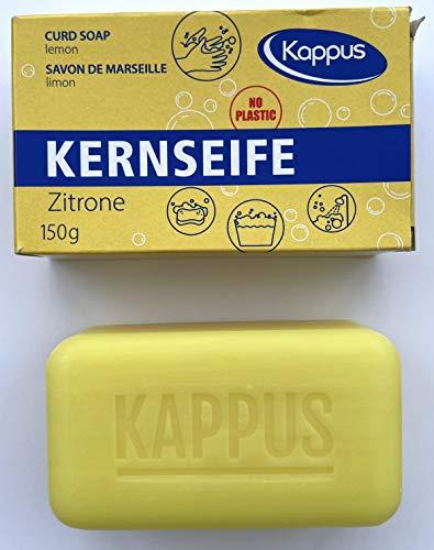 Kappus Kernseife Zitrone, einzeln verpackt **10 STÜCK** a 150g ohne Plastik, im Pappkarton, Zitronenduft