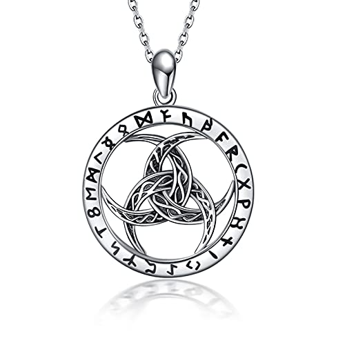 Celtic Knot Necklace Sterling Silver Viking Jewelry Pendant Crescent Moon Runes Amulet Wiccan Odin's Norse Mythology Protection Jewelry Gifts for Men Women