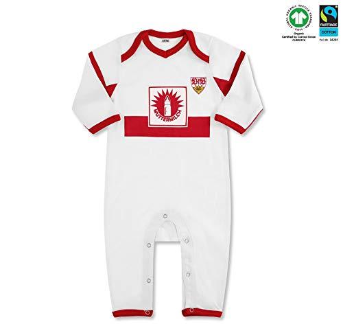 VfB Stuttgart Baby Strampler Heimtrikot Muttermilch Langarm 100% Baumwolle Fairtrade in 3 Größen (50/56-74/80) (62/68)
