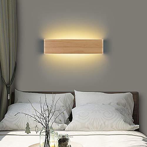 Martll Applique Murale Intérieure LED Applique en Bois Up and Down Lampe Éclairage Mural pour Salon Chambre Couloir Escalier Chaud Blanc Lampe Murale (32cm)
