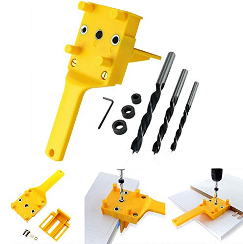 8 pcs Handheld Woodworking Dowel Jig Kit fits 6mm 5/16' 3/8' Drill Guide Metal Sleeve Wood Drilling Doweling Hole Saw Tools with Metal Sleeve