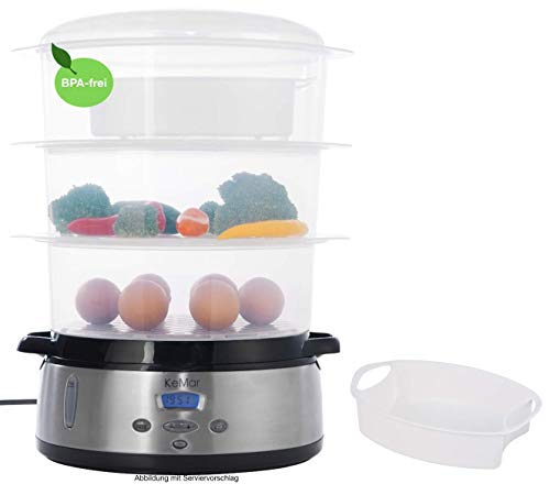 KeMar Kitchenware KFS-700 digitaler Dampfgarer, BPA-frei, 9 Liter, 800W, Timer, inkl. Reisschale, Edelstahl