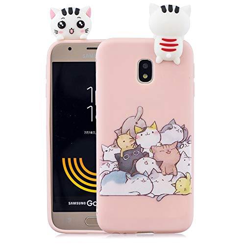 Leton Cover per Samsung Galaxy J5 2017 Silicone 3D Rosa Gatto Morbido TPU Gel Custodia Samsung Galaxy J5 2017 Antiurto Flessibile Gomma Case Protettiva Bumper Candy Copertura 3D Papa