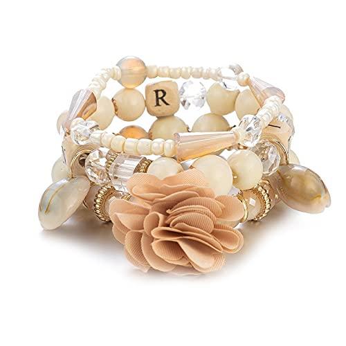 1 pulsera de cuentas para mujer con varias capas de color beige con cuentas bohemio, playa, Carolina del Norte, colgante de flores