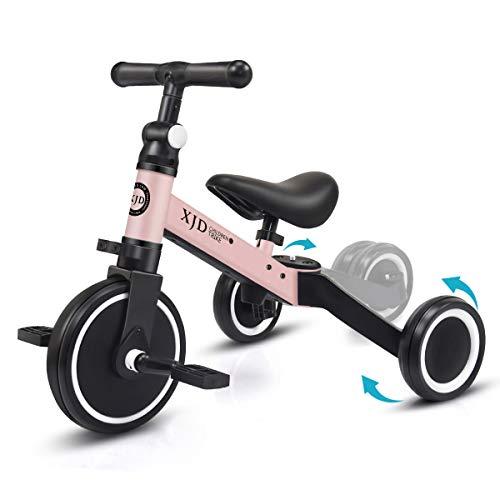 XJD 3 in 1 Triciclo per Bambini Bicicletta Equilibrio Adatto per età 1-3 Anni Certificazione CE (Rosa...