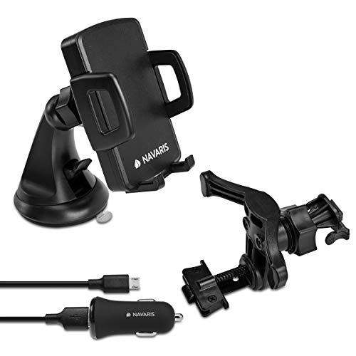 Navaris 10W Qi kompatibel Fast Wireless KFZ Ladehalterung - Auto Handyhalterung mit KFZ Fast Charger Ladestation und Lüftungshalterung - Induktion Ladegerät