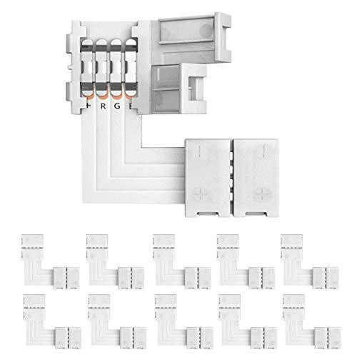 YAYZA! 10-Pack 4 Pin 10mm Connettore a striscia senza saldatura a LED Connettore a splitter rapido Non impermeabile per strisce 5050 5630 4014 RGB - Forma L
