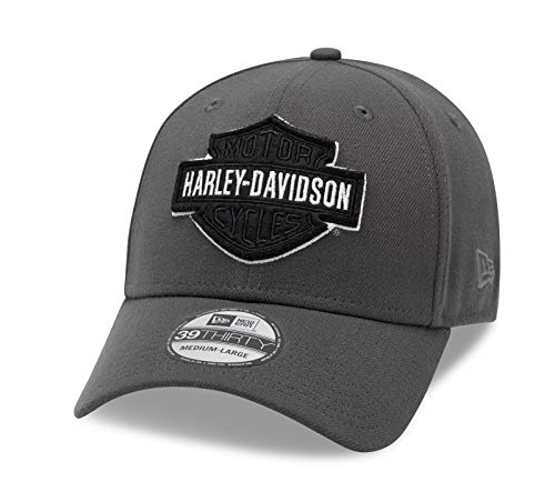 HARLEY-DAVIDSON 39THIRTY Baseball Cap Cappy Mütze Tonal Logo, Grau, M