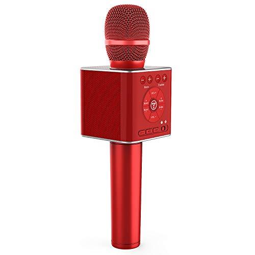 TOSING 04 micrófonos karaoke bluetooth,microfono inalámbricos portátil portátil 3 en 1 Máquina de altavoces cumpleaños de fiesta de regalo de año nuevo para Android/PC (Rojo)