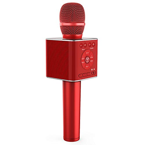 TOSING 04 drahtloses Bluetooth Karaokemikrofon, lauteres Volumen 10W Energie, mehr Baß, 3-in-1 beweglicher Handdoppeltsprecher-Mic-Maschine für iPhone/Android/iPad/PC (Rot)