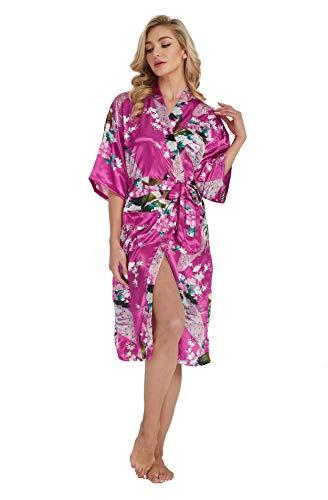 Westkun Kimono Japones Mujer Albornoz Vestido de Satén Pavo Real Novia Pijamas Largo Sexy y Elegante de Seda Bata Camisón Robe Lencería Cardigan(Rosa Roja,L)