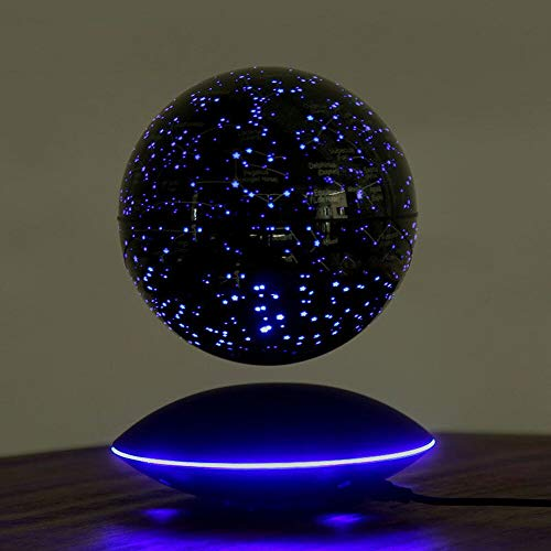JUJ® Globo maravillosamente Flotante Levitación magnética Mapa del Mundo Cambio Luces LED Plataforma Negra 88 Constelaciones para Hombres Regalo Decoración de Escritorio de Oficina en casa B-Segundo