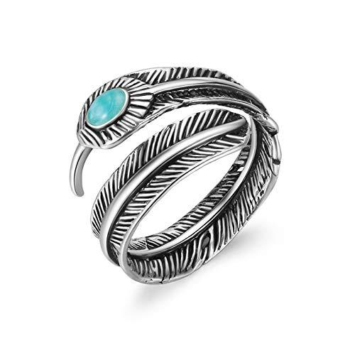 Anillo de hombre 1 unids Bohemia África pluma con piedra azul abierto anillo ajustable antiguo color metal punk anillo para mujeres hombres joyería