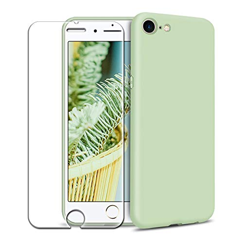 Funda iPhone 6 Plus/iPhone 6S Plus + Protector de Pantalla de Vidrio Templado, Carcasa Ultra Fino Suave Flexible Silicona Colores del Caramelo Protectora Caso Anti-rasguños Back Case - Menta Verde