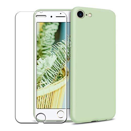 Cover iPhone 6/ iPhone 6S Custodia + Pellicola Protettiva in Vetro Temperato, Ultra Sottile Silicone TPU Morbido Tinta Unita Antiurto AntiGraffio Case Protettiva Custodie - Menta Verde
