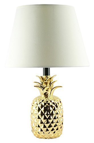 Gold Pineapple Lamp with Creme Shade