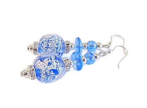 VENEZIA CLASSICA - Pendientes de mujer con perlas de cristal de Murano originales, colección Diana, con hoja de plata, fabricados en Italia con certificado