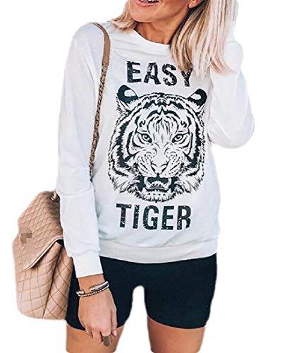 Vrouwen T-shirt Tiger Letter Print Long-Sleeve Loose Sweatshirts